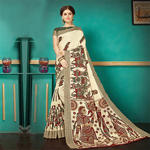 Cream Printed Casual Wear Pashmina Silk Saree