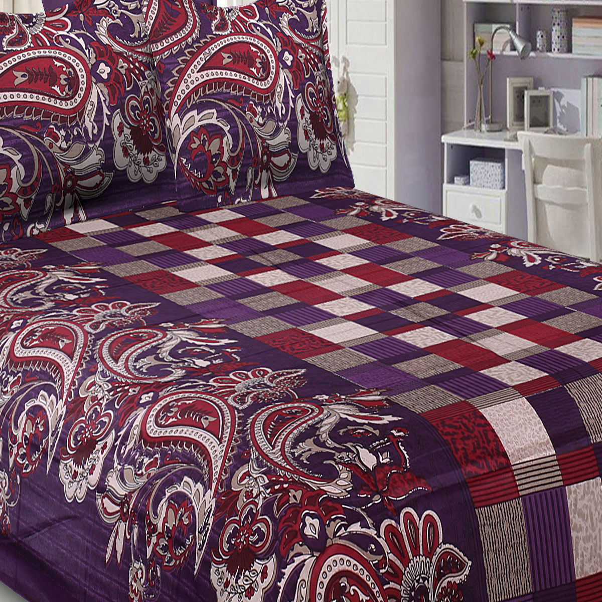 Impressive Purple Checks and Paisley Floral Printed Pure Cotton Jaipuri Procian Bedsheet With Two Pillow Cover