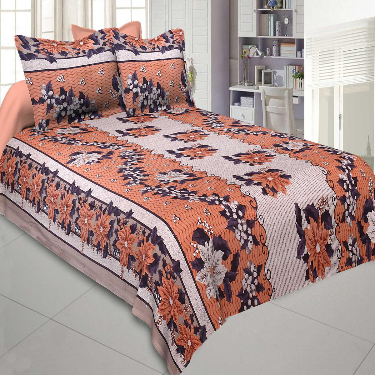 Breathtaking Mistyrose and Brown Colored Floral Printed Pure Cotton Jaipuri Procian Bedsheet With Two Pillow Cover