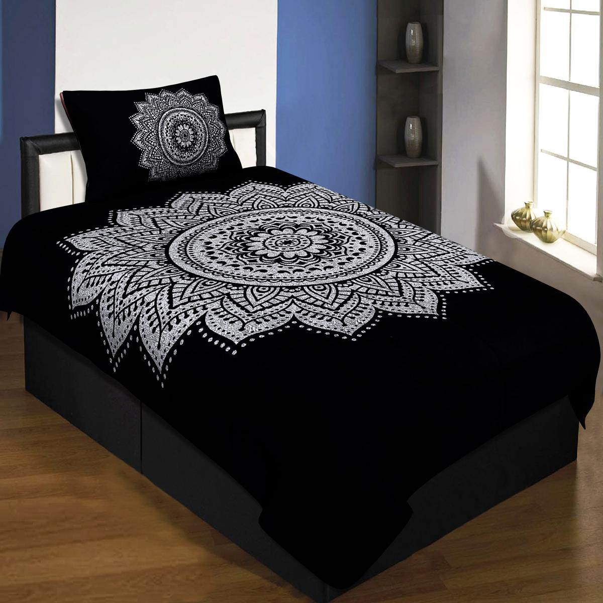 Dazzling Big Rangoli Print Black & White Colored Printed Pure Cotton Single Bedsheet With 1 Pillow Cover