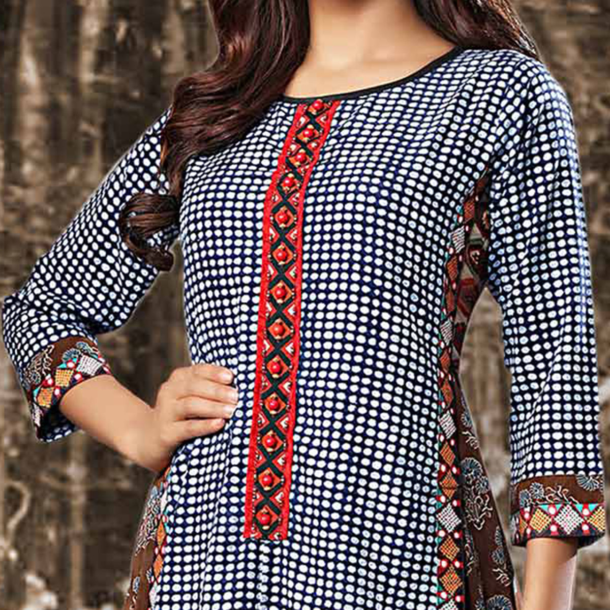 Black Colored Designer Partywear Printed Georgette Kurti