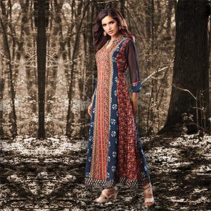 Blue - Orange Colored Designer Partywear Printed Georgette Kurti