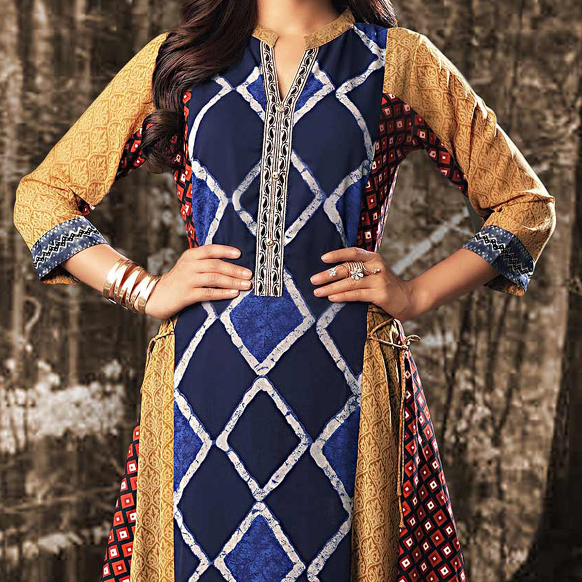 Multicolored Colored Designer Partywear Printed Georgette Kurti