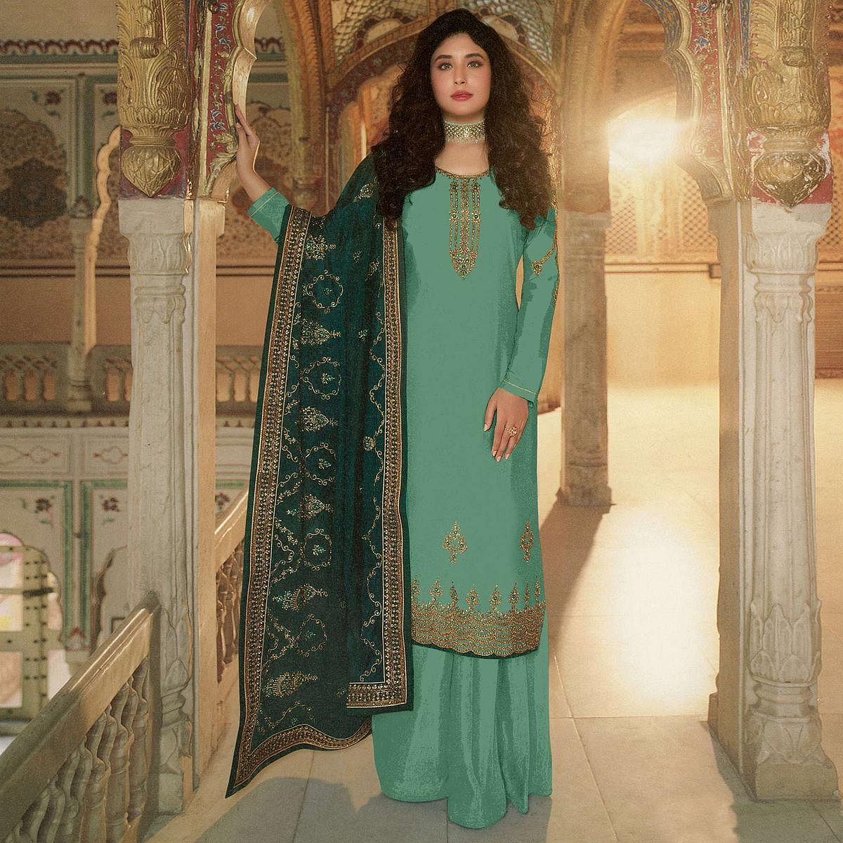 Ethnic Green  Coloured Partywear Embroidered Pakistani Rangoli Georgette Straight Palazzo Suit