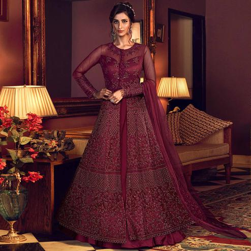 Gleaming Maroon Coloured Embroidered Partywear Soft Net Anarkali Suit