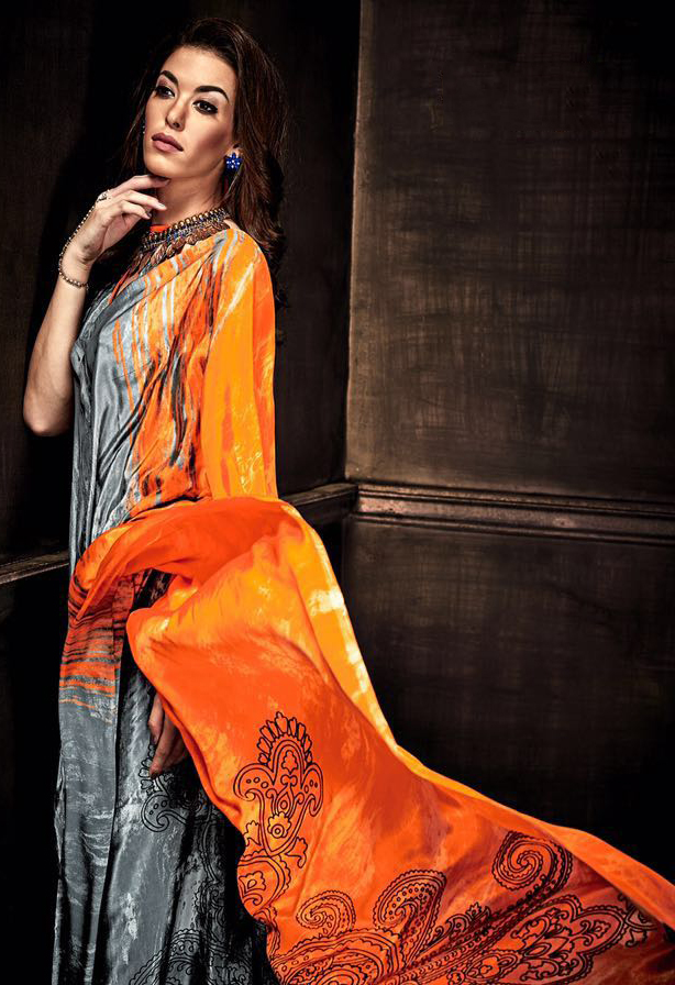 Orange - Grey Casual Printed Saree
