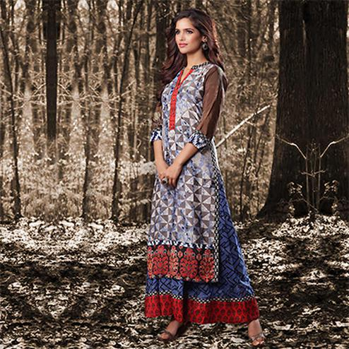 Blue Colored Designer Partywear Printed Georgette Kurti