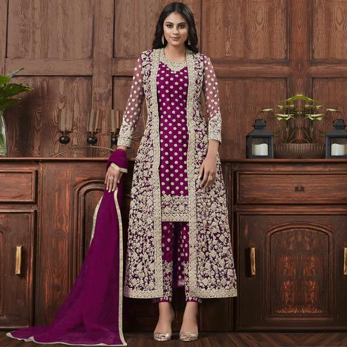 Excellent Wine Coloured Partywear Embroidered Butterfly Net Pakistani Straight Suit
