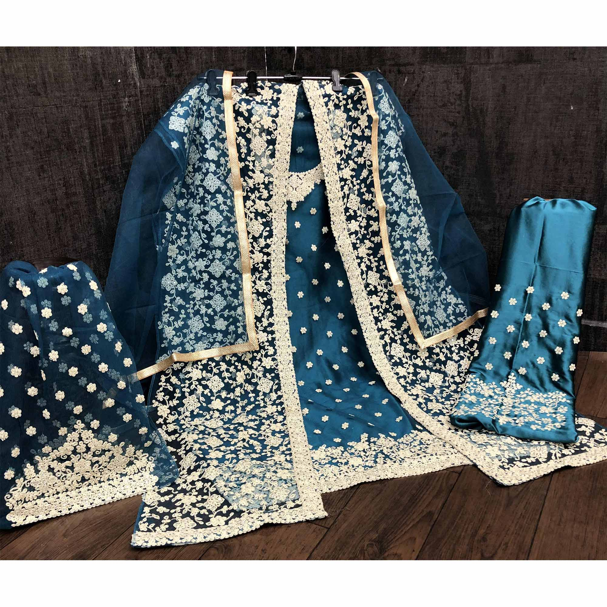 Hypnotic Aqua Blue Coloured Partywear Embroidered Butterfly Net Pakistani Straight Suit