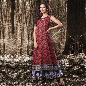 Red Colored Designer Partywear Printed Georgette Kurti