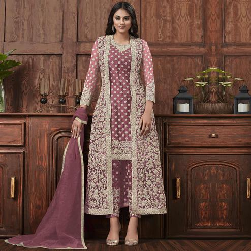 Trendy Purple Coloured Partywear Embroidered Butterfly Net Pakistani Straight Suit