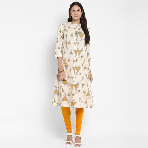 Vbuyz - Women's Printed A-Line Cotton Off white Kurta With Multiple Slit