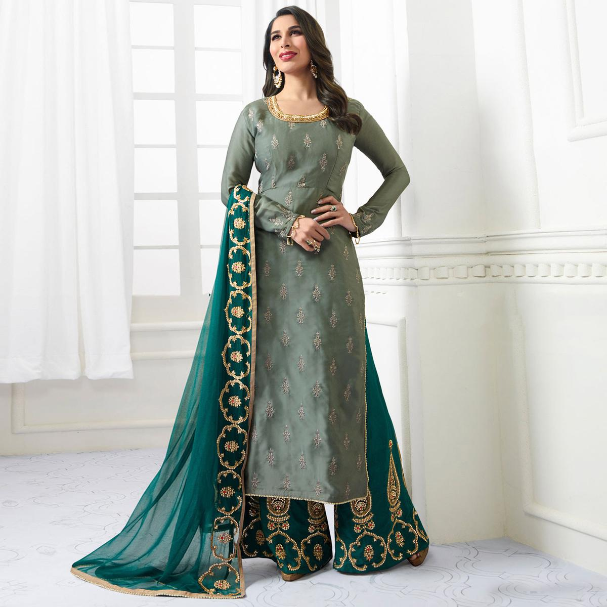Glorious Grey Designer Embroidered Satin Palazzo Suit