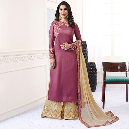 Graceful Pink Designer Embroidered Satin Palazzo Suit