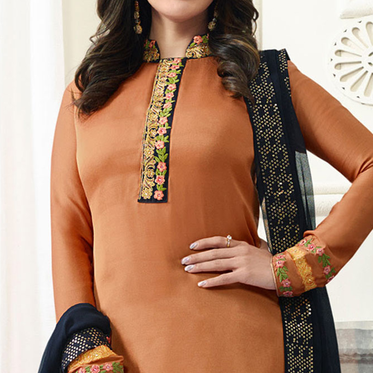 Lovely Light Brown Designer Embroidered Satin Palazzo Suit