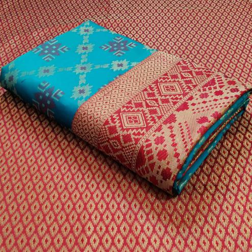 Blooming Turquoise Blue Colored Festive Wear Woven Patola Silk Saree