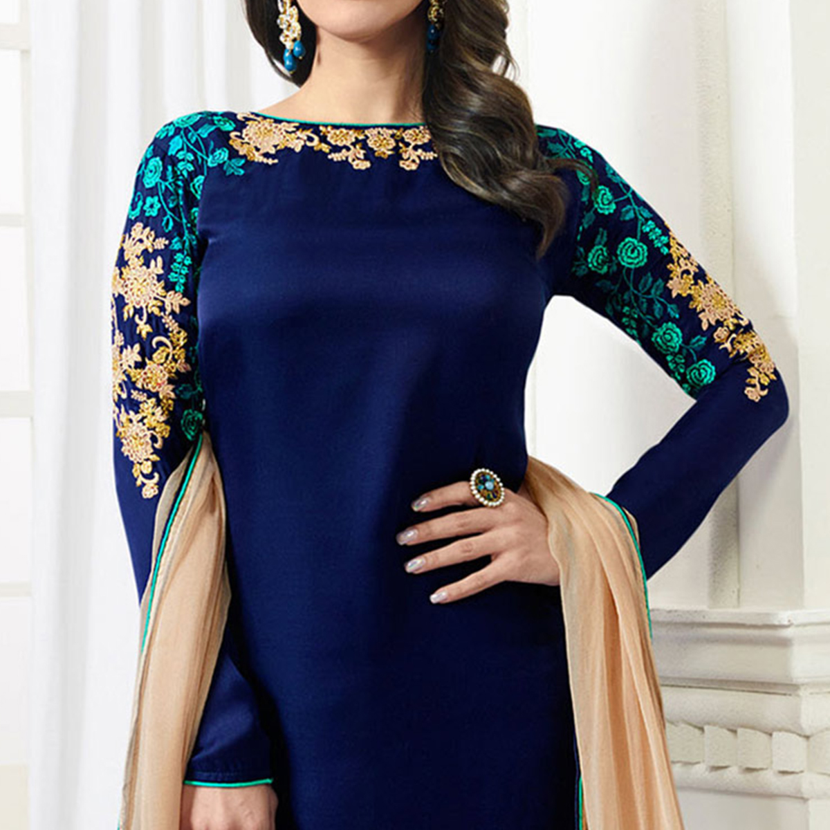 Mesmerising Blue Designer Embroidered Satin Palazzo Suit