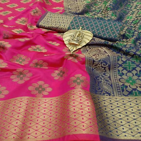 Lovely Pink Colored Festive Wear Woven Silk Saree