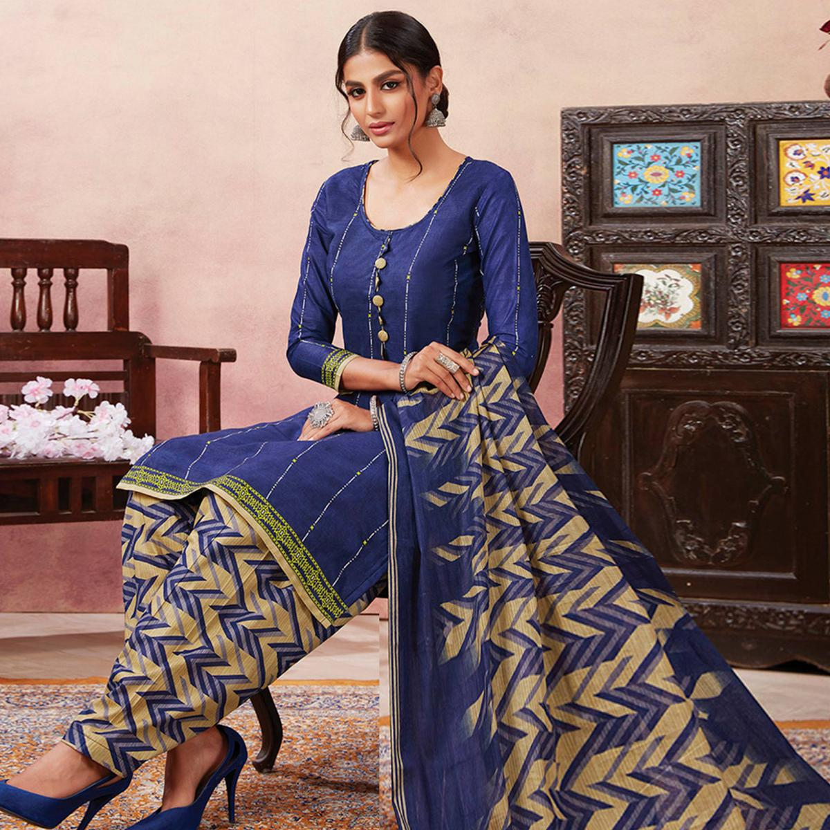 Mesmerising Navy Blue Colored Casual Wear Printed Pure Cotton Patiala Dress Material