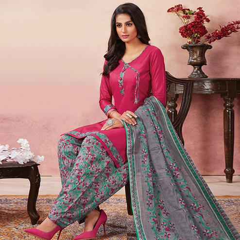 Pleasance Dark Pink Colored Casual Wear Printed Pure Cotton Patiala Dress Material