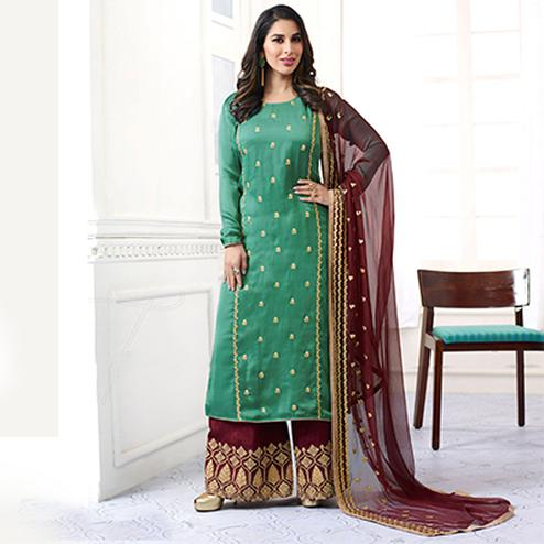Charming Green Designer Embroidered Satin Palazzo Suit