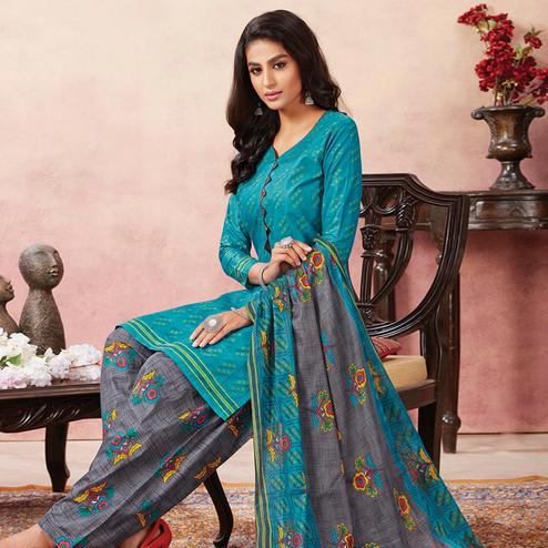 Ethnic Blue Colored Casual Wear Printed Pure Cotton Patiala Dress Material