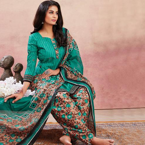Intricate Green Colored Casual Wear Printed Pure Cotton Patiala Dress Material