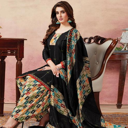 Exotic Black Colored Casual Wear Printed Pure Cotton Patiala Dress Material