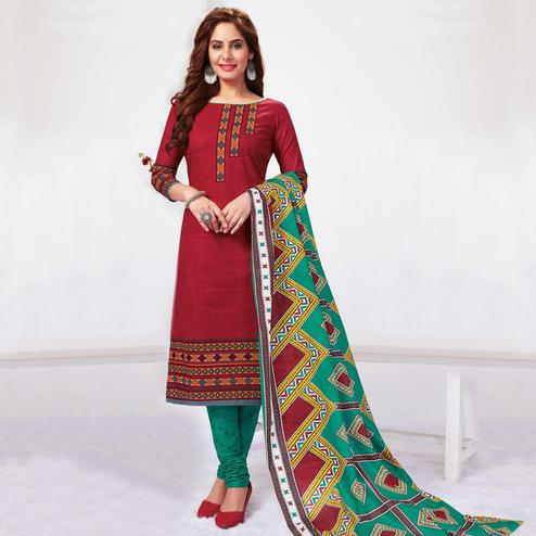 Radiant Maroon Colored Casual Wear Printed Pure Cotton Dress Material
