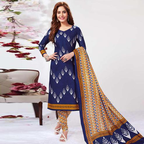 Opulent Navy Blue Colored Casual Wear Printed Pure Cotton Dress Material