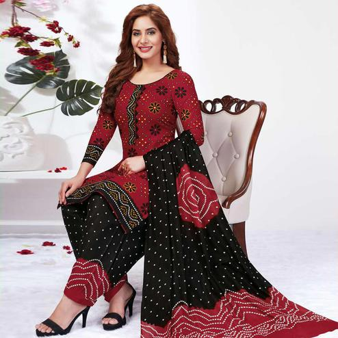 Glowing Maroon Colored Casual Wear Printed Pure Cotton Dress Material