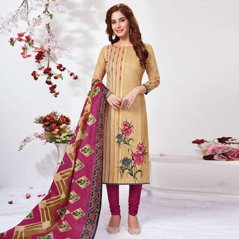Exceptional Beige Colored Casual Wear Printed Pure Cotton Dress Material