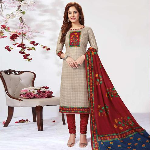 Mesmeric Beige Colored Casual Wear Printed Pure Cotton Dress Material