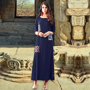 Navy Blue Colored Designer Partywear Printed Cotton Kurti