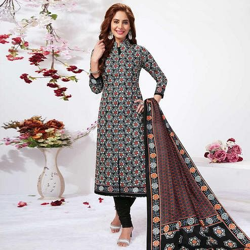 Demanding Black Colored Casual Wear Printed Pure Cotton Dress Material