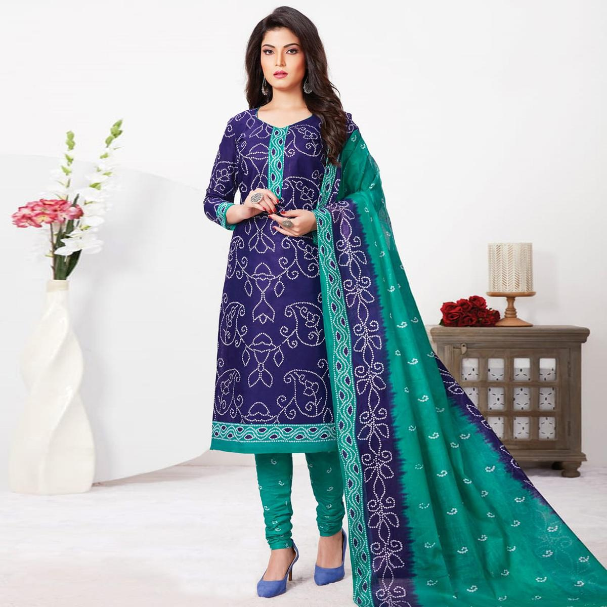 Refreshing Navy Blue Colored Casual Wear Bandhani Printed Pure Cotton Dress Material