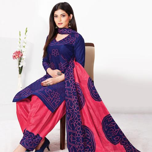 Hypnotic Navy Blue Colored Casual Wear Bandhani Printed Pure Cotton Dress Material