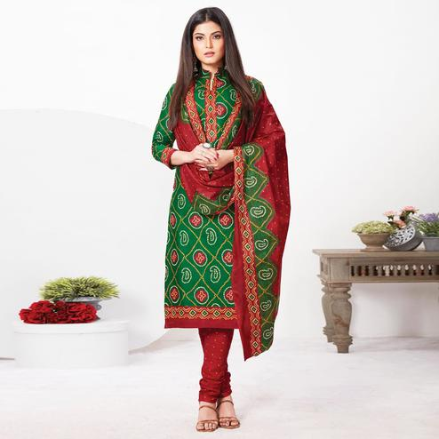 Flattering Green Colored Casual Wear Bandhani Printed Pure Cotton Dress Material