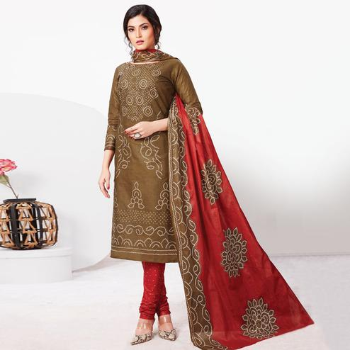 Excellent Brown Colored Casual Wear Bandhani Printed Pure Cotton Dress Material