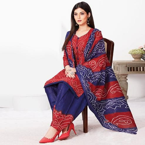 Preferable Red Colored Casual Wear Bandhani Printed Pure Cotton Dress Material