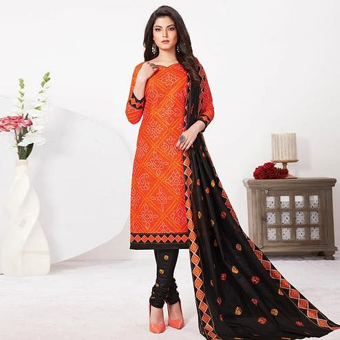 Marvellous Orange Colored Casual Wear Bandhani Printed Pure Cotton Dress Material