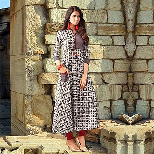 Brown Colored Designer Partywear Printed Cotton Kurti