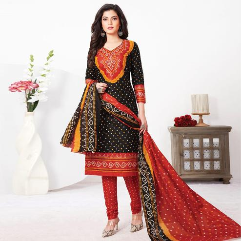 Pretty Black Colored Casual Wear Bandhani Printed Pure Cotton Dress Material