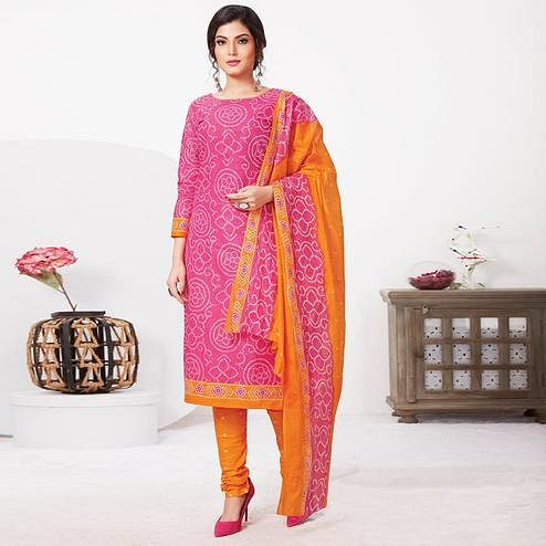 Alluring Pink Colored Casual Wear Bandhani Printed Pure Cotton Dress Material