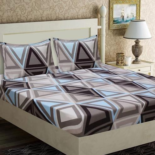 Pooja Fashion - Multi-Colored Printed Glace Cotton Double Bedsheet With 2 Pillow Cover