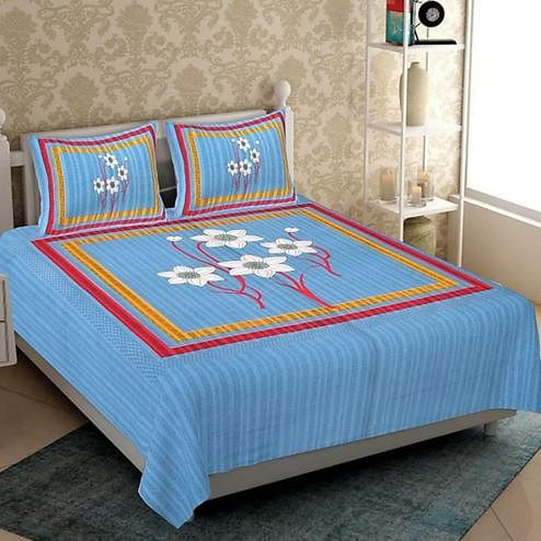 Pooja Fashion - Blue Colored Printed Glace Cotton Double Bedsheet With 2 Pillow Cover