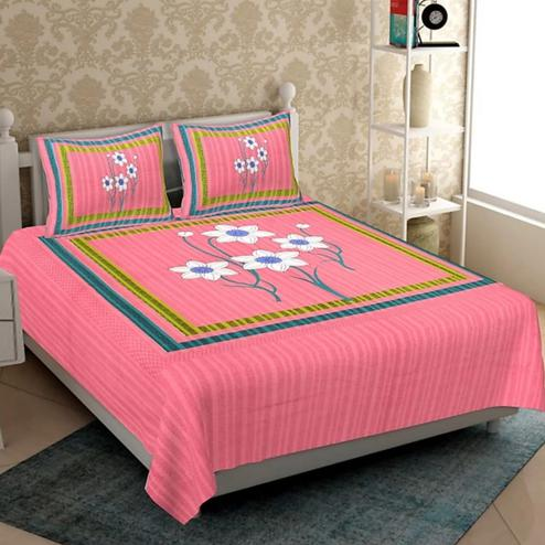 Pooja Fashion - Pink Colored Printed Glace Cotton Double Bedsheet With 2 Pillow Cover