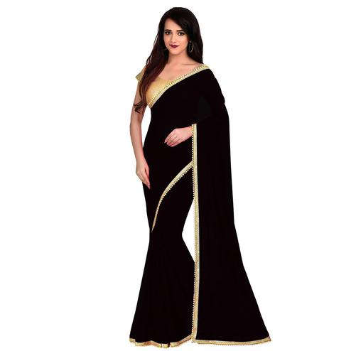 Glorious Black Colored Partywear Georgette Saree With Matching Blouse.