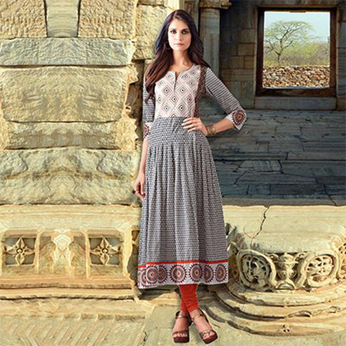 Grey Colored Designer Partywear Printed Cotton Kurti