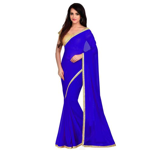 Attractive Blue Colored Partywear Georgette Saree With Matching Blouse.